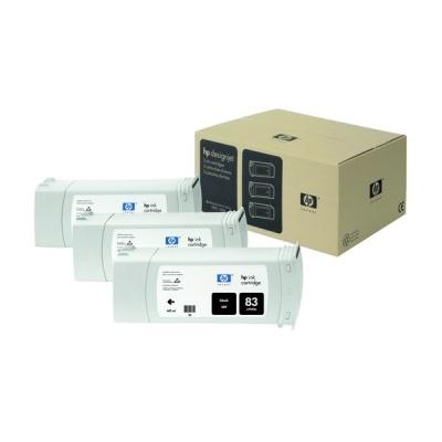 HP 83 Black UV DJ Ink Cart, 680 ml, 3-pack, C5072A