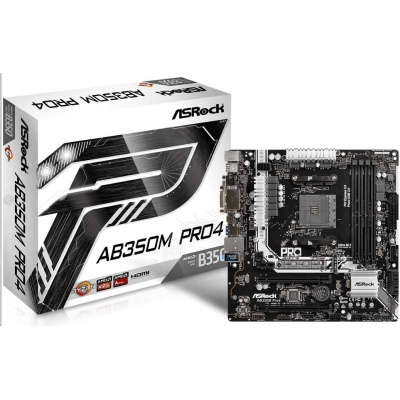 ASRock MB Sc AM4 AB350M Pro4, AMD AB350, 4xDDR4, VGA, mATX