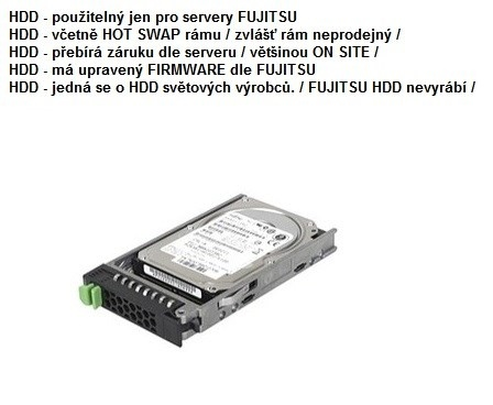 FUJITSU HDD SRV SAS 12G 1.2TB 10K 512n HOT PL 2.5' EP pro RX2520M4, TX1330M3, RX1330M3