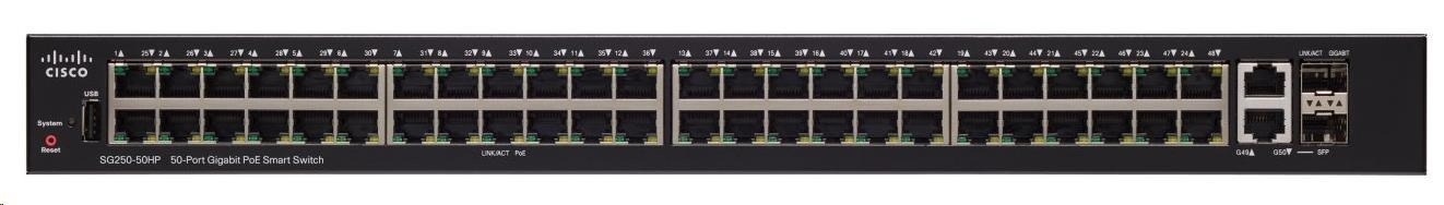 Cisco switch SG250-50-RF, 48x10/100/1000, 2xGbE SFP/RJ-45 REFRESH