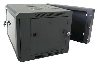 """XtendLan 19"""" dvoudílný nástěnný rozvaděč 9U, šířka 600mm, hloubka 550mm, skleněné dveře-kouřové sklo,nosnost 60kg,černý"""