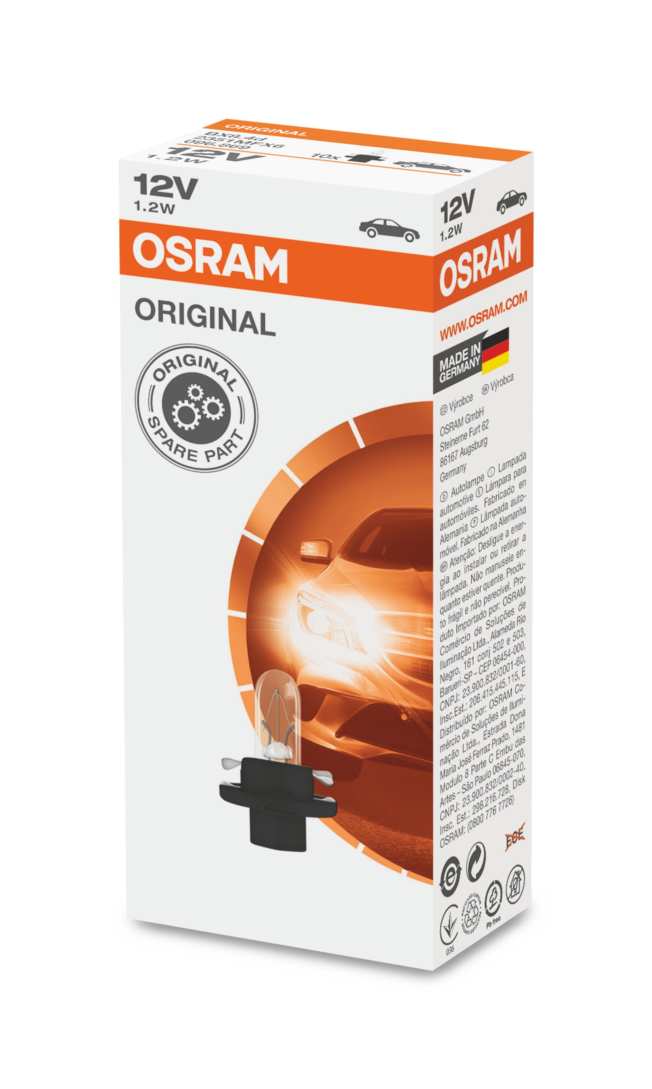 OSRAM autožárovka  STANDARD 12V 1,2W BX8,4d (Krabička 10ks)