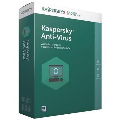 Kaspersky Anti-Virus 2019 CZ, 3PC, 2 roky, obnovení licence, elektronicky
