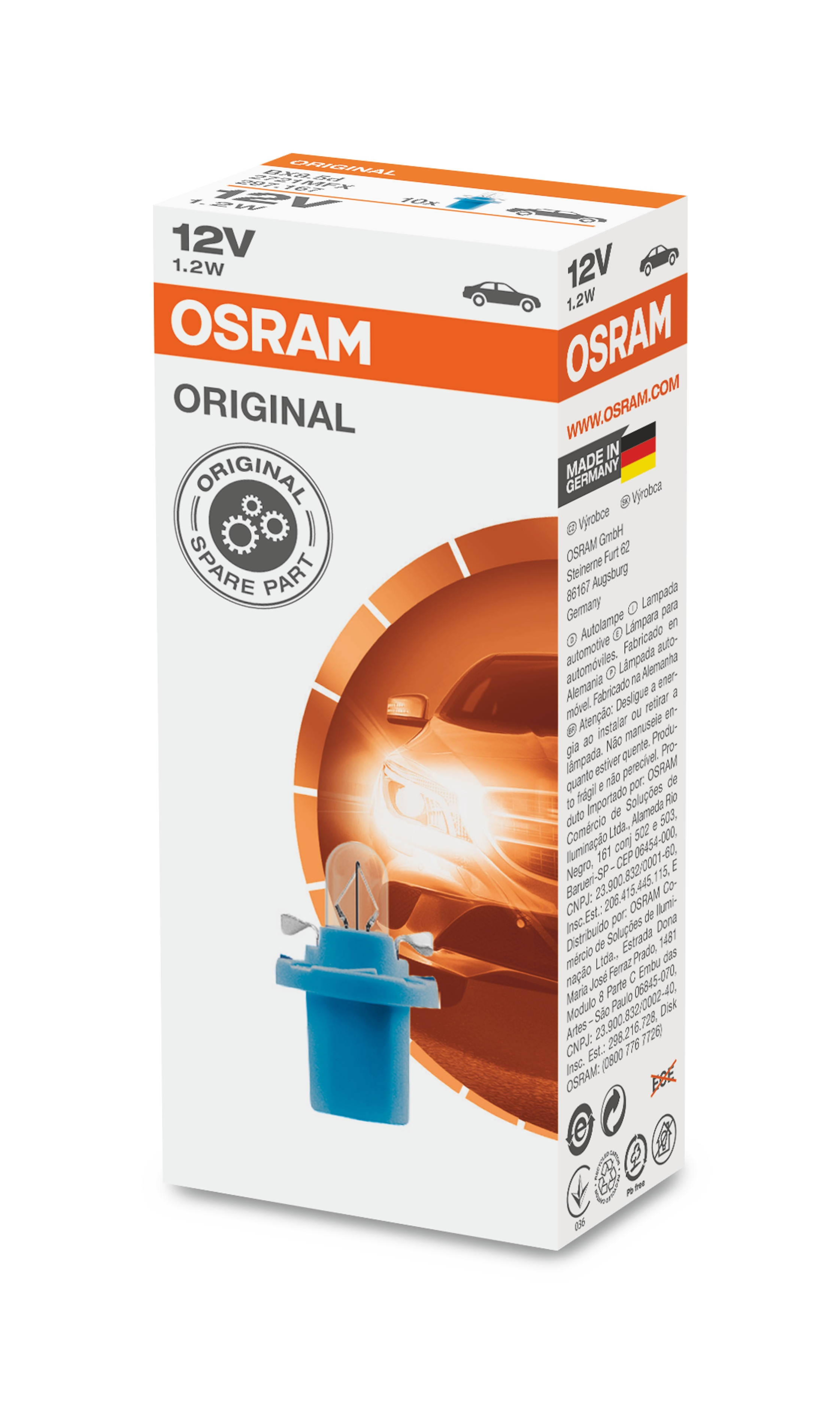 OSRAM autožárovka  STANDARD 12V 1,2W BX8.5d (Krabička 10ks)
