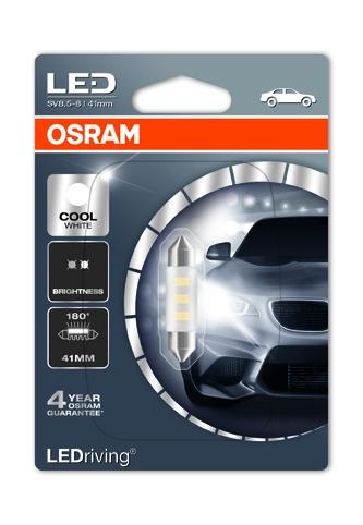 OSRAM autožárovka  LEDriving® Standard 12V 1W SV8.5-8 41mm 6000K studená bílá (Blistr 1ks)