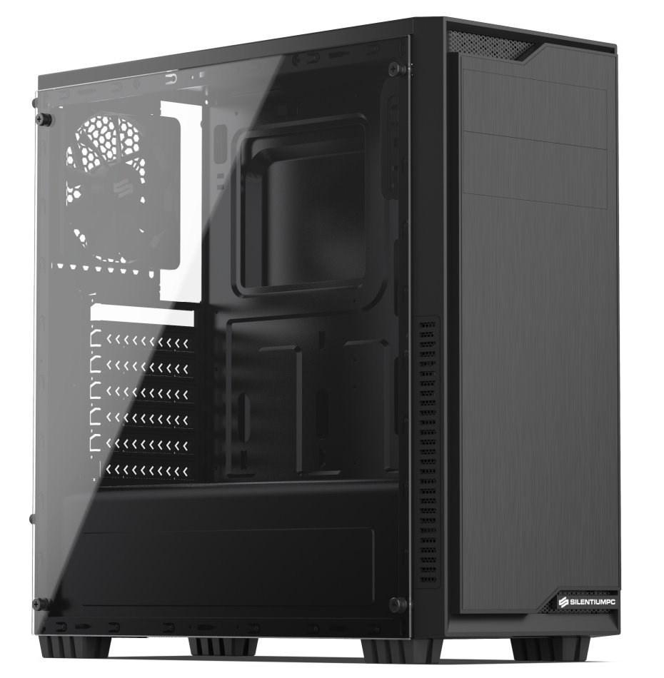 SilentiumPC skříň MidT Regnum RG1 TG Pure Black / průhledná bočnice / 2 x USB 3.0 / 120mm fan / černá