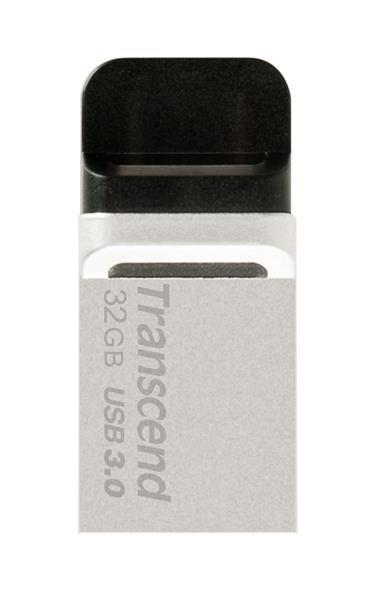 TRANSCEND USB Flash Disk JetFlash®880S, 32GB, USB 3.0/micro USB, Silver (R/W 90/20 MB/s)