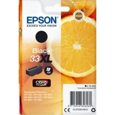 "EPSON ink čer Singlepack ""Pomeranč"" Black 33XL Claria Premium Ink"