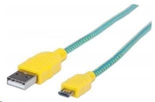 MANHATTAN Kabel USB 2.0 A-Micro B propojovací 1,8m, opletený (modrozelená/žlutá)