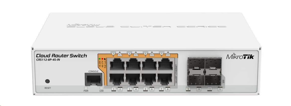 MikroTik Cloud Router Switch CRS112-8P-4S-IN, 400MHz CPU, 128MB RAM, 8xLAN, PoE max. 67W, 4xSFP slot, vč. L5 licence