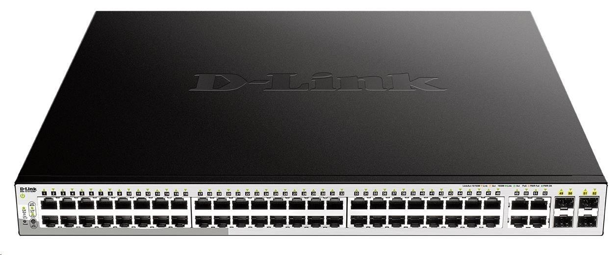 D-Link DGS-1210-52MP 52-Port Gigabit Smart+ PoE Switch, 48x GbE PoE+, 4x RJ45/SFP, PoE 370W
