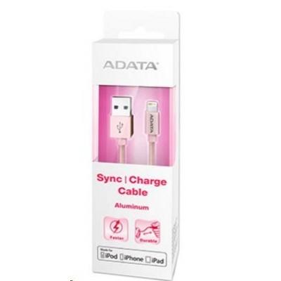ADATA Sync & Charge Lightning kabel - USB A 2.0, 100cm, hliníkový, růžový
