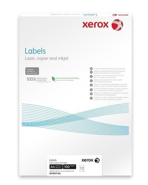 Xerox Papír bílé samolepící štítky, kulaté rohy -  Labels 65UP 38,1x21,2 (g/100 listů, A4)