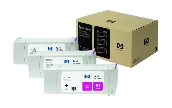 HP 81 Magenta DJ Ink Cart, 680 ml, 3-pack, C5068A