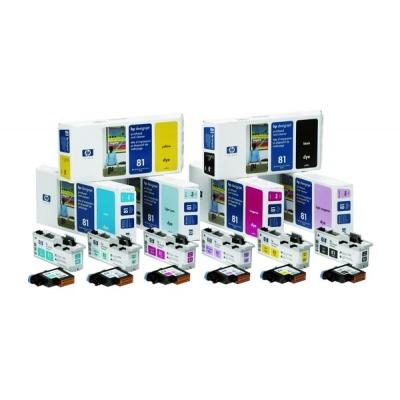 HP 81 Yellow Printhead + Printhead Cleaner, C4953A