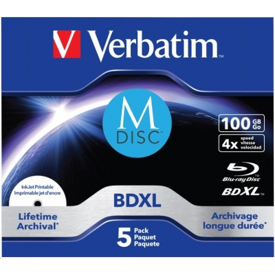 VERBATIM MDisc BDXL (5-pack)Jewel/4x/100GB