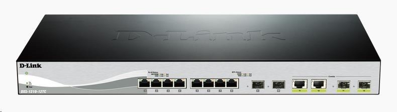 D-Link DXS-1210-12TC 12-port 10Gigabit Smart Managed Switch, 8x 10GbE RJ45, 2x 10GbE SFP+, 2x 10GbE RJ45/SFP+ combo