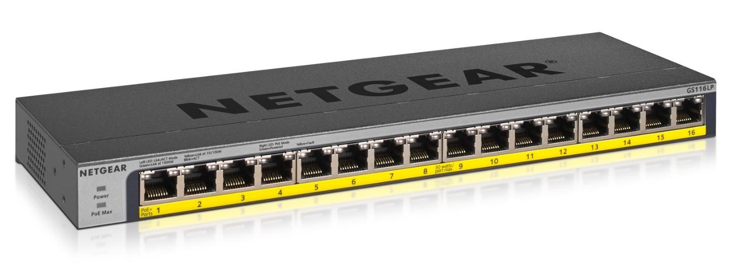 Netgear GS116LP 16-port Gigabit PoE+ Switch, 16x gigabit PoE port, PoE budget 76W, fanless
